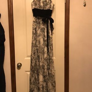 Romantic Black and white BCBG gown